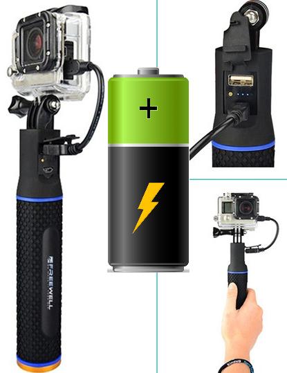 Монопод рукоятка для экшн камеры со встроенным аккумулятором 5200 mAh
